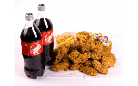 35 крылышек + 2фри + 2л Coca-Cola